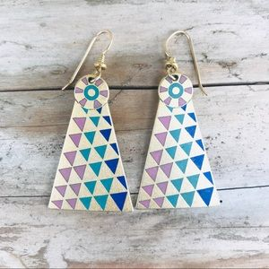 """Laurel Burch signed """"Mantra"""" earrings triangle"""